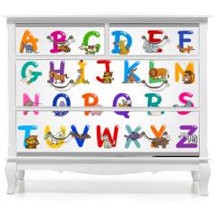 Naklejka na meble - Cartoon Alphabet with Animals Illustrations