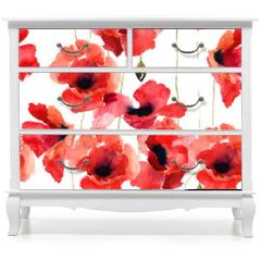Naklejka na meble - Stylized Poppy flowers illustration