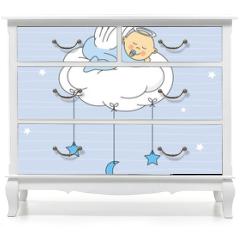Naklejka na meble - baby boy sleeping on a cloud. Birthday Card