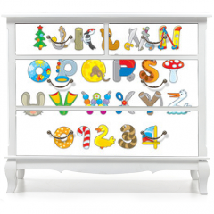 Naklejka na meble - English alphabet and numerals with toys