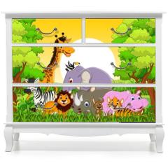 Naklejka na meble - cute animal wildlife with forest background