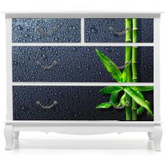Naklejka na meble - spa background - drops and bamboo on black