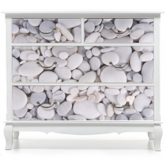 Naklejka na meble - white pebbles stones background