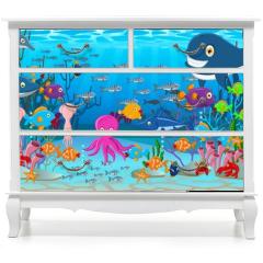 Naklejka na meble - Sea life cartoon background