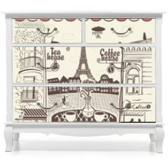 Naklejka na meble - Parisian street restaurant with views of the Eiffel Tower