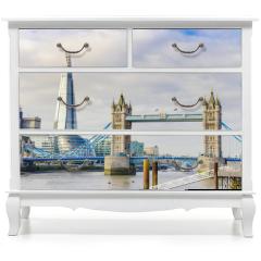 Naklejka na meble - The Shard and Tower Bridge on Thames river in London, UK