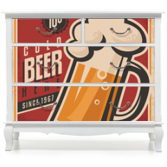 Naklejka na meble - Retro beer vector poster
