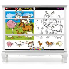Naklejka na meble - farm animals coloring page set