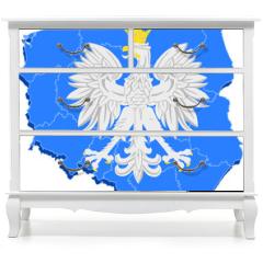 Naklejka na meble - godło Polski i mapa