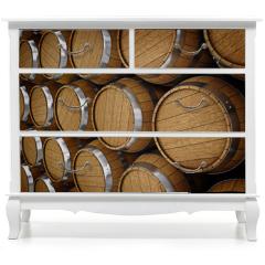 Naklejka na meble - Wooden oak brandy wine beer barrels rows