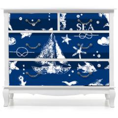 Naklejka na meble - White print boat and fishes on navy blueseamless pattern