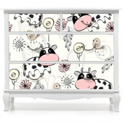Naklejka na meble - babies hand draw seamless pattern with cows