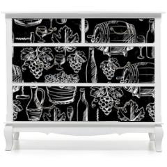 Naklejka na meble - Wine seamless pattern drawn by chalk.