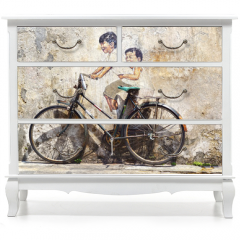 """Naklejka na meble - """"Little Children on a Bicycle"""" Mural."""