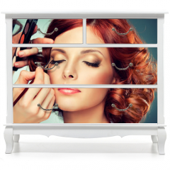 Naklejka na meble - Model with curled red hair