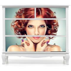 Naklejka na meble - Beautiful model red with curly hair