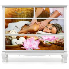 Naklejka na meble - Beautiful woman having massage.