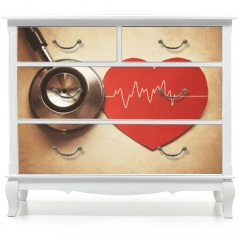 Naklejka na meble - heart and stethoscope