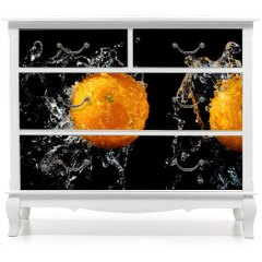 Naklejka na meble - Set of fresh oranges in water splash