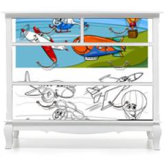 Naklejka na meble - planes and aircraft cartoon coloring book