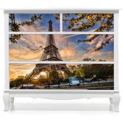 Naklejka na meble - Eiffel Tower against sunrise  in Paris, France