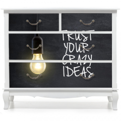 Naklejka na meble - Light bulb lamp on blackboard background with idea quote
