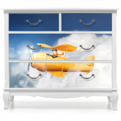 Naklejka na meble - Aircraft in the clouds, vector illustration