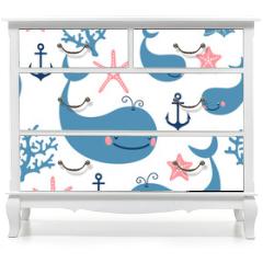 Naklejka na meble - Seamless pattern with cute whales.