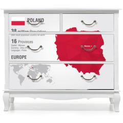 Naklejka na meble - Poland world map with a pixel diamond texture.