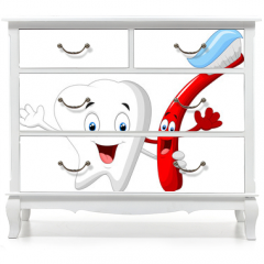 Naklejka na meble - Dental Tooth and Toothbrush cartoon character