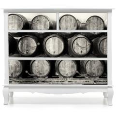 Naklejka na meble - Whisky or wine barrels in black and white