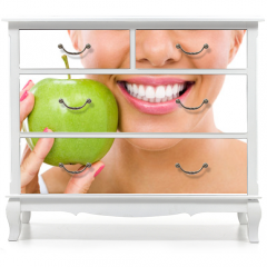 Naklejka na meble - woman with an apple