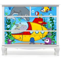 Naklejka na meble - animals on submarine - vector  illustration, eps