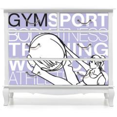 Naklejka na meble - Pilates illustration of woman stability ball gym fitness yoga