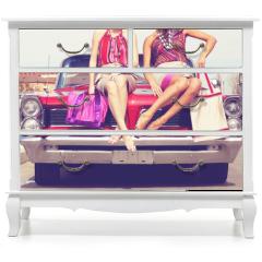 Naklejka na meble - Beautiful ladies legs posing in a vintage retro car
