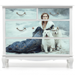 Naklejka na meble - The woman on winter walk with a dog