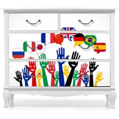 Naklejka na meble - mains bulles : apprendre les langues étrangères