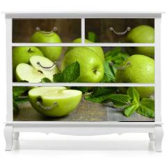 Naklejka na meble - Green apples with mint leaves.