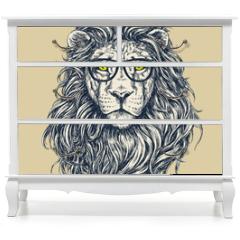 Naklejka na meble - Hipster lion vector illustration. Glasses separated.
