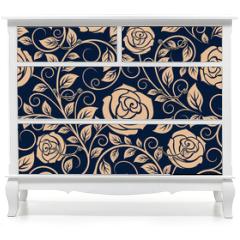 Naklejka na meble - Vintage roses flowers seamless pattern