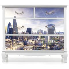 Naklejka na meble - London sunset, view on business modern district