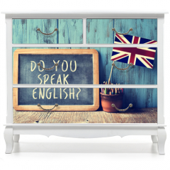 Naklejka na meble - text do you speak english? in a chalkboard, filtered