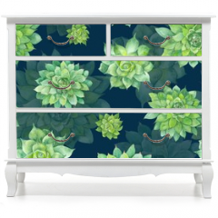 Naklejka na meble - Watercolor Succulent Pattern on Blue Background