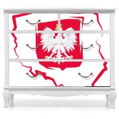 Naklejka na meble - Mapa Polski z godłem