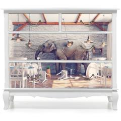 Naklejka na meble - The elephant  in a restaurant