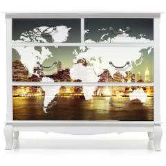 Naklejka na meble - World Global Cartography Globalization Earth International Conce