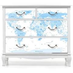 Naklejka na meble - Detailed World Map blue colors