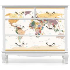 Naklejka na meble - Highly Detailed Political World Map Vintage Colors