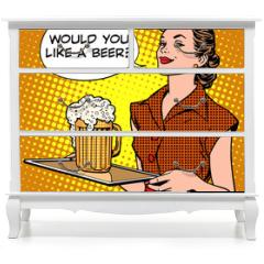 Naklejka na meble - The waitress beer on a tray