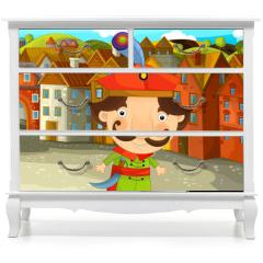 Naklejka na meble - Cartoon scene - noble man in the old town - illustration for the children